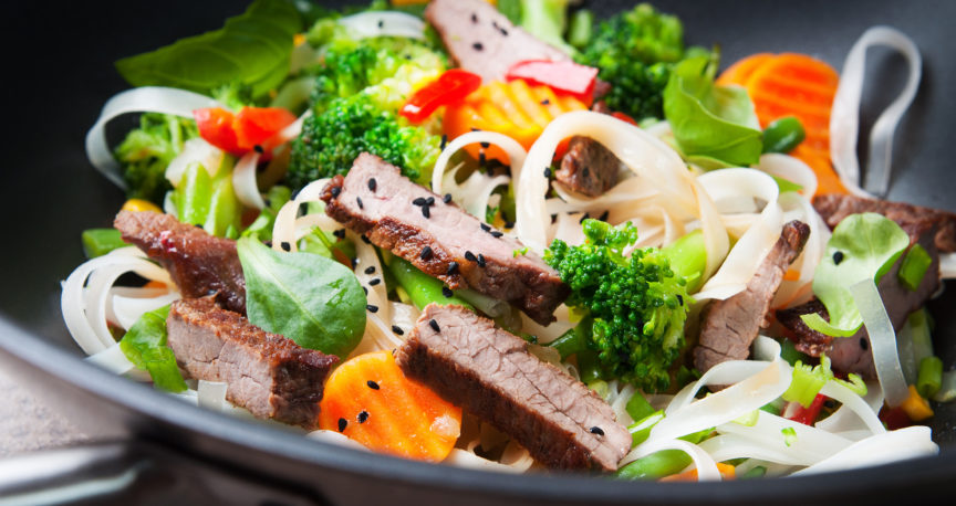 Fillet strips stir-fried with vegetables