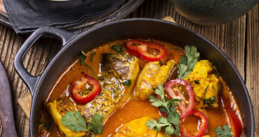 Grouper baked in spicy Moroccan sauce and olives