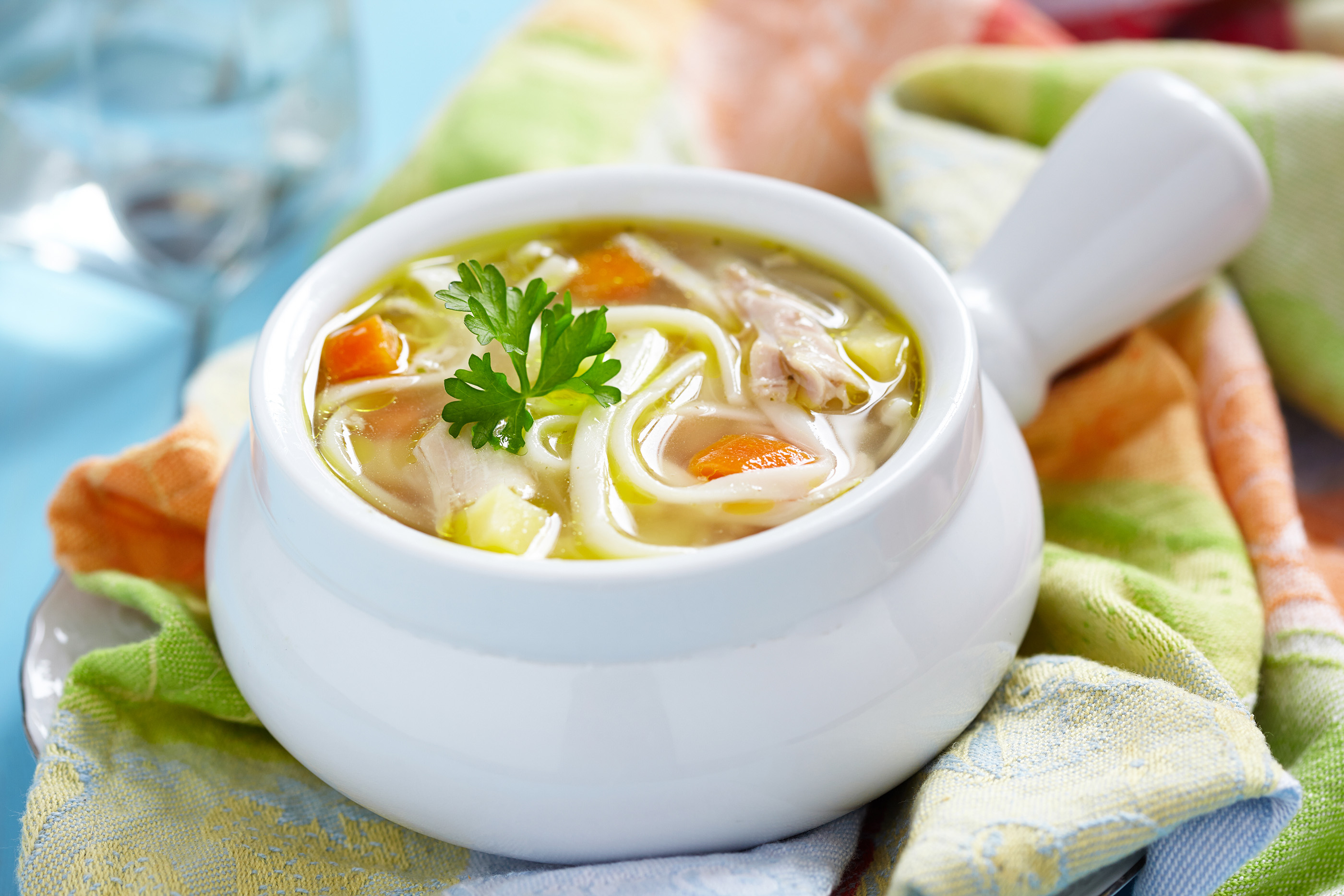 Vegetable soup and egg noodles