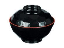 קערת מלמין + מכסה שחור אדום  9108