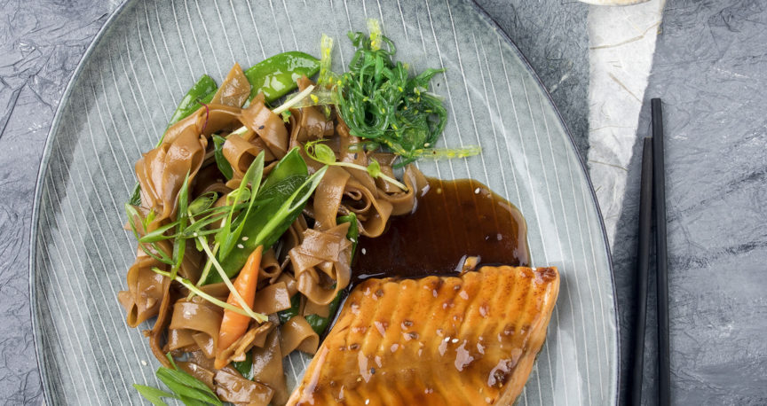 Salomon cooked in Soy sauce topped with pecans