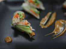 דפי אורז במילוי עוף עם דיפינג חמאת בוטנים וסויה